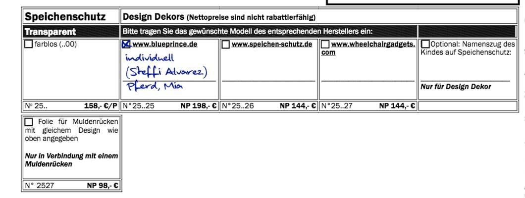 Beispiel zum Ausfüllen beim Bestellbogen Mio Carbon